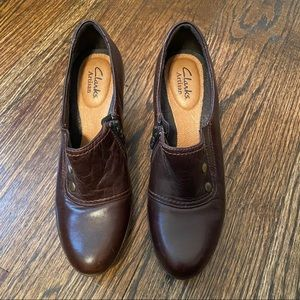 Clarks Artisan Brown Studded Chunky Heels Slip-on